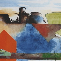 Walking the mines collage-ink 24x29cms res