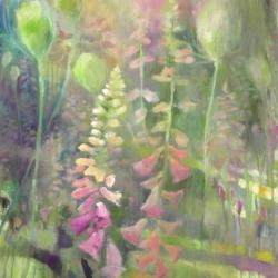 Hilary Reed. Foxgloves & Teasel. Oil
