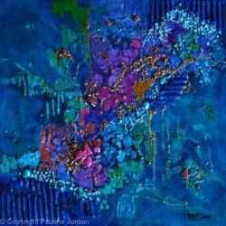 BLUE PLANET, mixed media, Pauline Jordan