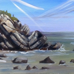 GM Folded rocks, Pembrokeshire Acrylic on canvas 500x200mm WEB